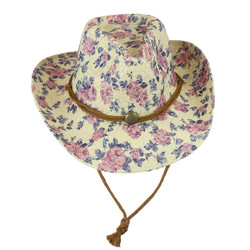 Environmentally Friendly Paper Straw Flowered Cowgirl Hat Purple