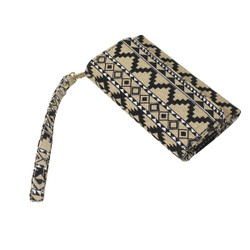 Tribal Pattern Cell Phone Wristlet Black and Natural