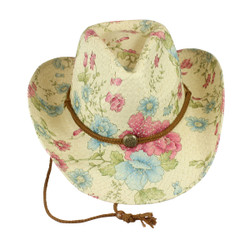 Environmentally Friendly Paper Straw Flowered Cowgirl Hat Pink and Blue