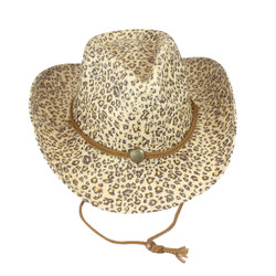 Environmentally Friendly Paper Straw Cowgirl Hat Leopard Print