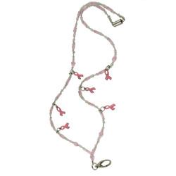 Glittering Beads and Pink Ribbon Lanyard