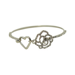 Heart and Rose Wire Bracelet Silver