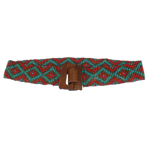 Diamond Patterned Stretchy Beaded Belt Red and Teal