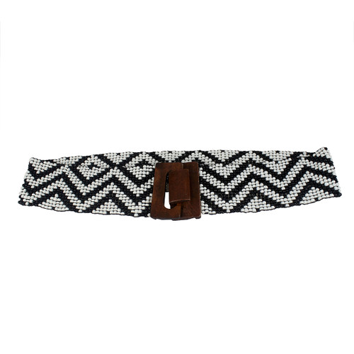 Wide ZigZag Patterned Stretchy Beaded Belt Black and White