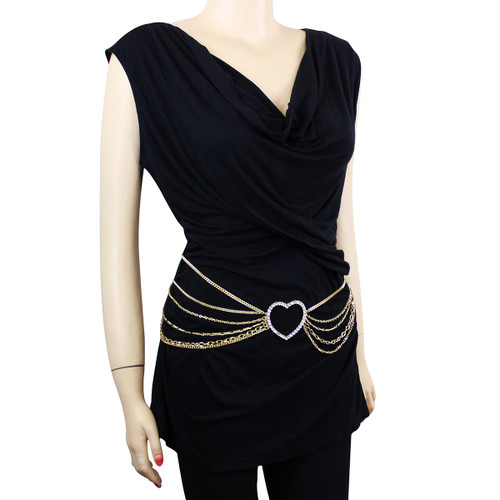 Funky Multi Strands Chain Belt with Crystal Heart Detail Gold