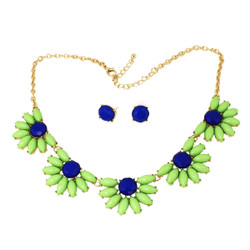 Happy Daisy's Necklace and Earrings Set Lime and Blue