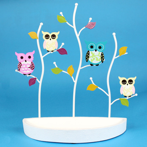 Colorful Owls Jewelry Stand with Crescent Tray White