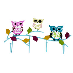 Colorful Owls Key and Jewelry Wall Hook Blue