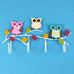Colorful Owls Key and Jewelry Wall Hook White