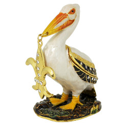 Pelican Holding a Fleur De LisTrinket Box