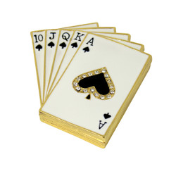Lucky Royal Flush Poker Hand Trinket Box