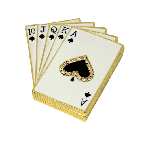 Lucky Royal Flush Poker Hand Trinket Box