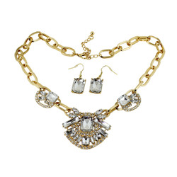 Dazzling Jewels Necklace and Earrings Gold and White