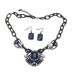 Dazzling Jewels Necklace and Earrings Black and Blue