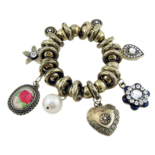 Victorian Stretch Bracelet Flower and Heart Shaped Charms Bronze