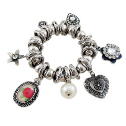 Victorian Stretch Bracelet Flower and Heart Shaped Charms Silver