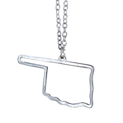 State of Oklahoma Necklace Silver