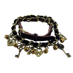 Ribbon Trim Chain Charm Bracelet Brown