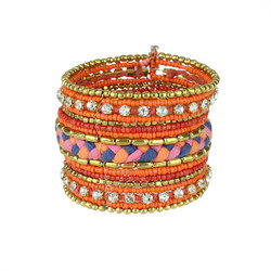 Bohemian Braided and Beaded Wrist Cuff Orange with Crystals
