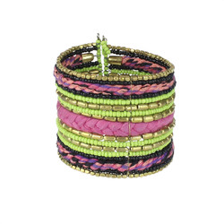Bohemian Braided and Beaded Wrist Cuff Fuchsia and Lime