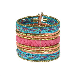 Bohemian Braided and Beaded Wrist Cuff Pink and Bright Blue