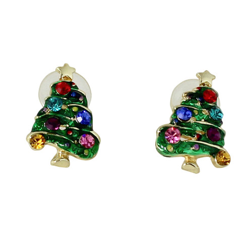 Colorful Christmas Tree Earrings with Crystals