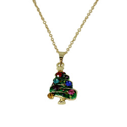 Colorful Christmas Tree Necklace with Crystals
