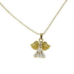 Lovely Two Toned Angel Necklace with Crystals