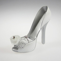 Bridal Shoe Ring Holder Display Elegant White Rose