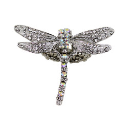 Large Crystal Encrusted Dragonfly Ring with Stretchy Band