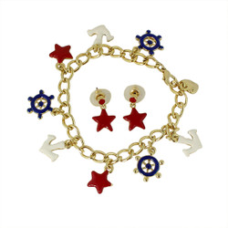 All Things Nautical Bracelet and Earrings Set