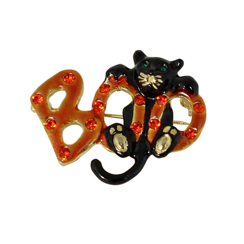 BOO Kitty Halloween Brooch or Pendant