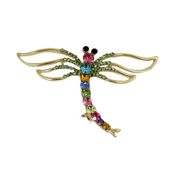 Colorful Sparkling Dragonfly Brooch with Crystals
