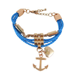Anchor Heart Charm Bracelet Blue