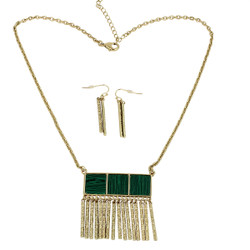 Metal Fringe Necklace and Earrings Set Green Malachite