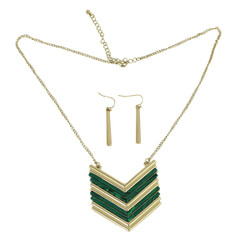 Chevron Shield Necklace and Earrings Set Green Malechite