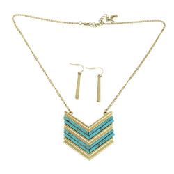 Chevron Shield Necklace and Earrings Set Turquoise