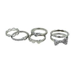 Set of Six Cutie Pie Rings Silver