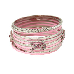 Pink Ribbon Bangle Bracelets Set