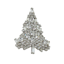 Sparkling Christmas Tree Brooch Silver