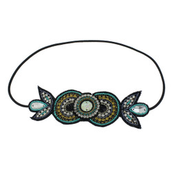 Bejeweled Invisible Lines Headband Tan and Teal