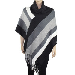 Comfortable Color Block Poncho Black and White
