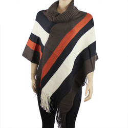 Comfortable Color Block Poncho Brown, Ivory, and Burnt Orange