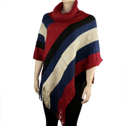 Comfortable Color Block Poncho Red, White and Blue