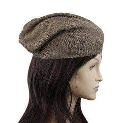 Double Weave Beanie Hat Brown