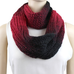 Water Color Thick Woven Infinity Scarf Black and Red