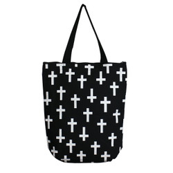 Durable Canvas Tote Bag Field of Crosses Print