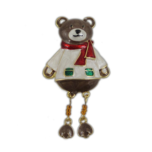 Christmas Teddy Bear Pin Bejeweled