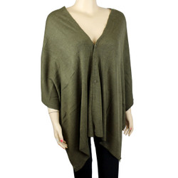 Multi Use Soft Scarf with Buttons Olive Greeen