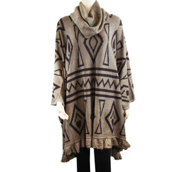 Geometric Shapes Cowl Necked Poncho Brown